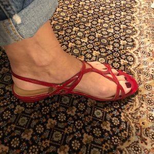 Stuart Weitzman red patent sandals, low heel
